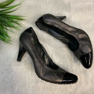 Stuart Weitzman silver and black leather heels